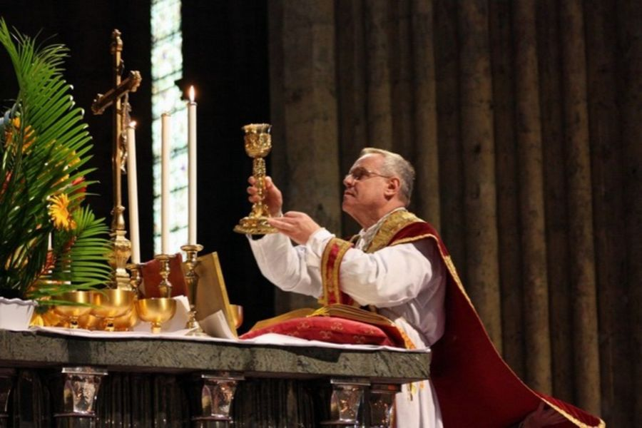Canon Dominique Aubert, rector of Chartres Cathedral, France, celebrating the extraordinary form of the Roman Rite