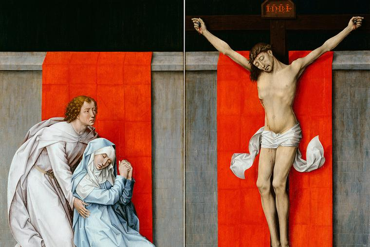 "Rogier van der Weyden, ""The Crucifixion, with the Virgin and Saint John the Evangelist Mourning,"" ca. 1460"