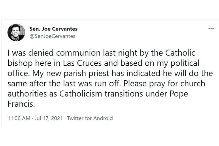 Sen. Joe Cervantes posted the above tweet on July 17.