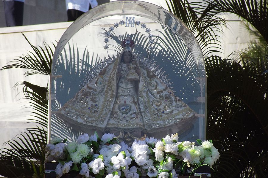 Above is a statue of Our Lady of Charity of Cobre, patroness of Cuba in Revolutionary Square on March 28, 2012.