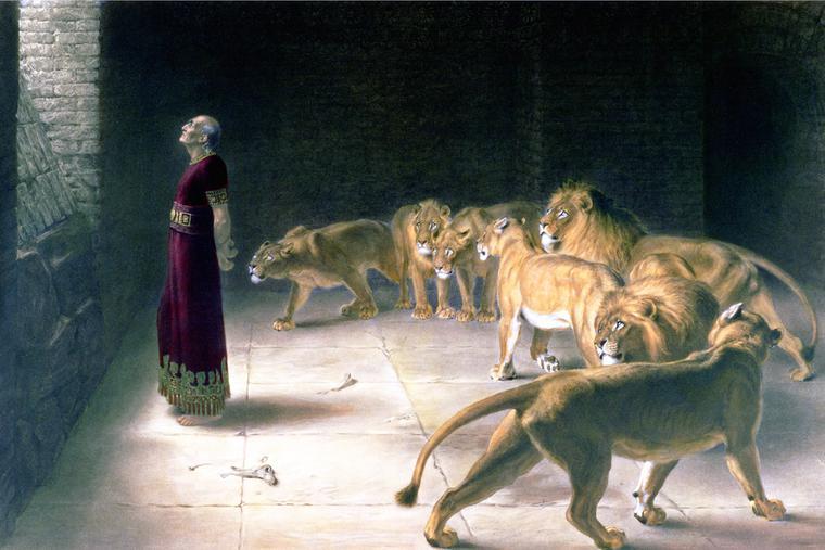 """J.B. Pratt, """"Daniel in the Lions Den,"""" 1892"""