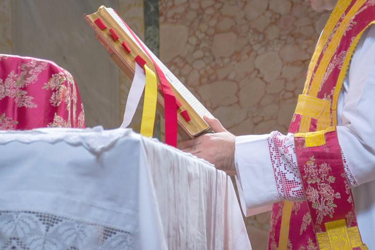 A priest celebrates the Latin Mass.