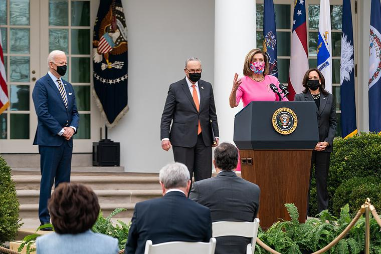 Speaker of the House Nancy Pelosi delivers remarks on the American Rescue Plan in March 2021 at the White House.