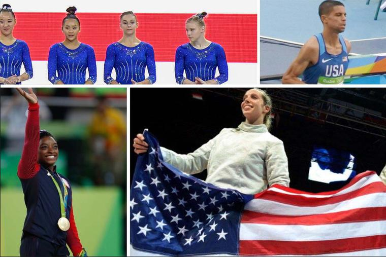 Clockwise from top left: Gymnast Grace McCallum (2nd from right) lines up with teammates Kara Eaker, Sunisa Lee and Jade Carey as the U.S. gymnastic women's team prepares to compete at an event Oct. 1, 2019, in Stuttgart, Germany; Matthew Centrowitz Jr. runs during Rio 2016; fencer Mariel Zagunis holds an American flag at the 2014 World Fencing Championships; gymnast Simone Biles waves to the crowd at the Rio games in 2016.