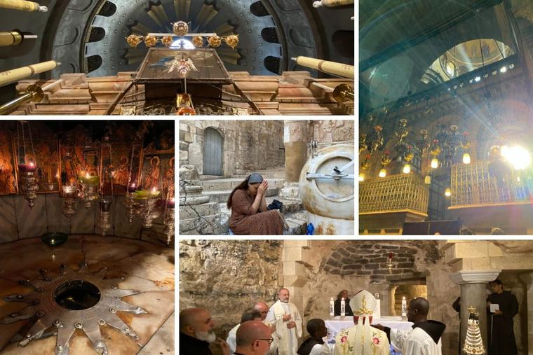 Clockwise from top left: Church of the Holy Sepulchre, the Angelus takes place in the cave of the Virgin Mary, a woman prays outside of the Holy Sepulchre and the place where Jesus was born.