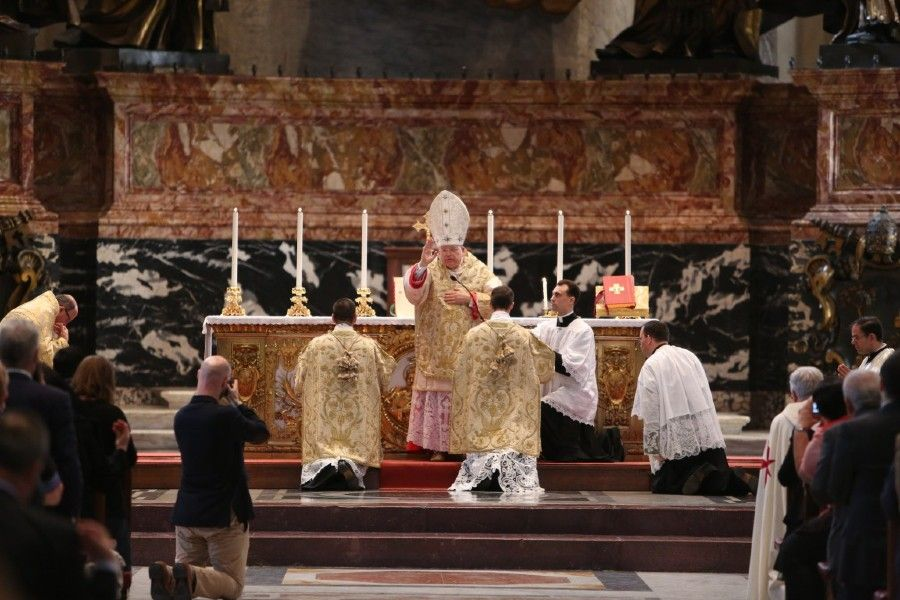 Cardinal Raymond Burke gives the final blessing during the Summorum Pontificum pilgrimage Mass in Rome on Oct. 25, 2014.