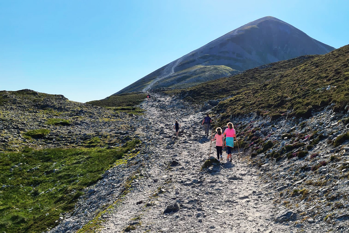 Even on good weather days, the climb for pilgrims is steep.