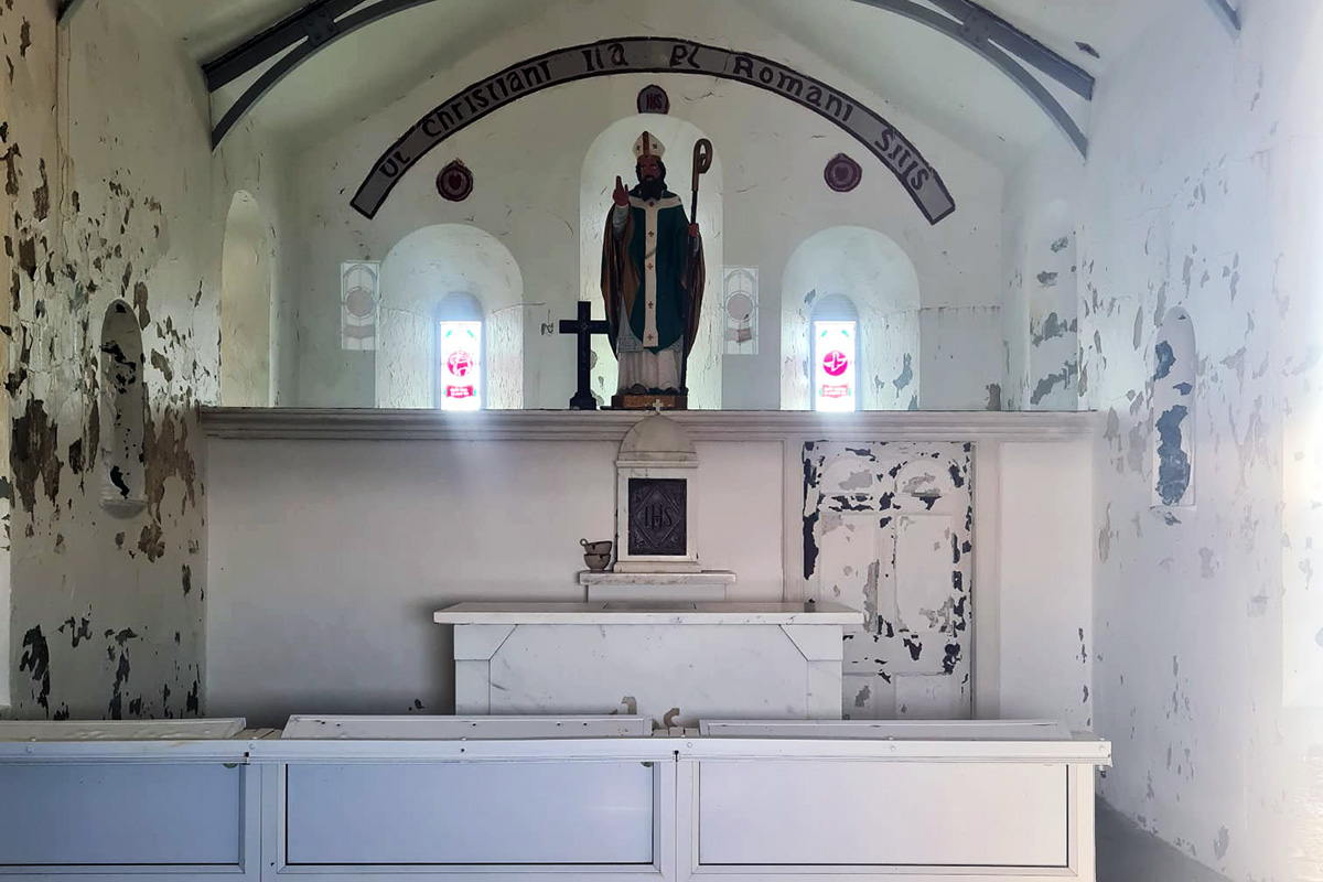 Inside the Oratory on the summit of Croagh Patrick
