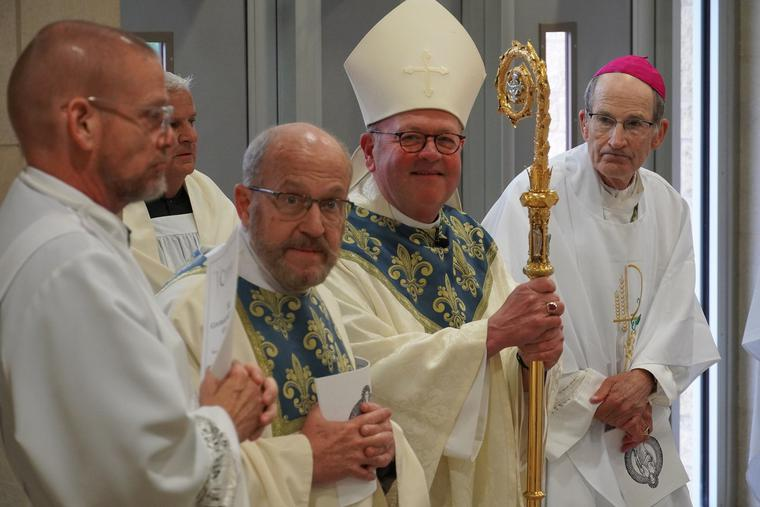L to R: Deacon Patrick Lappert, a medical doctor who serves as the Courage chaplain, Bishop Carl Kemme and Bishop John LeVoir