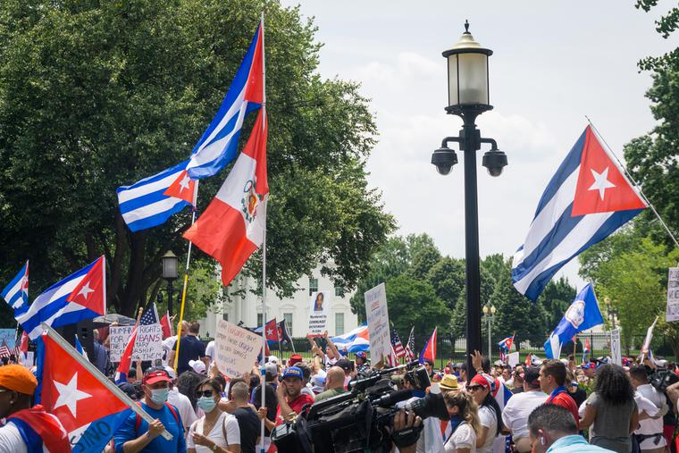 Protesters in favor of democracy in Cuba protest in front of the White House in Washington, D.C. on July 26, 2021.