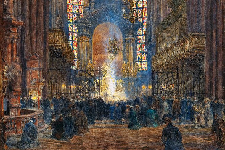 """Jindřich Tomec (1863–1928), """"Mass at St. Stephen's Cathedral"""""""