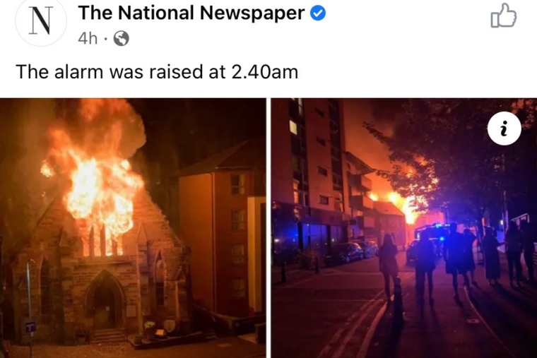 St. Simon's, Partick, in Glasgow, Scotland enguled in flames.