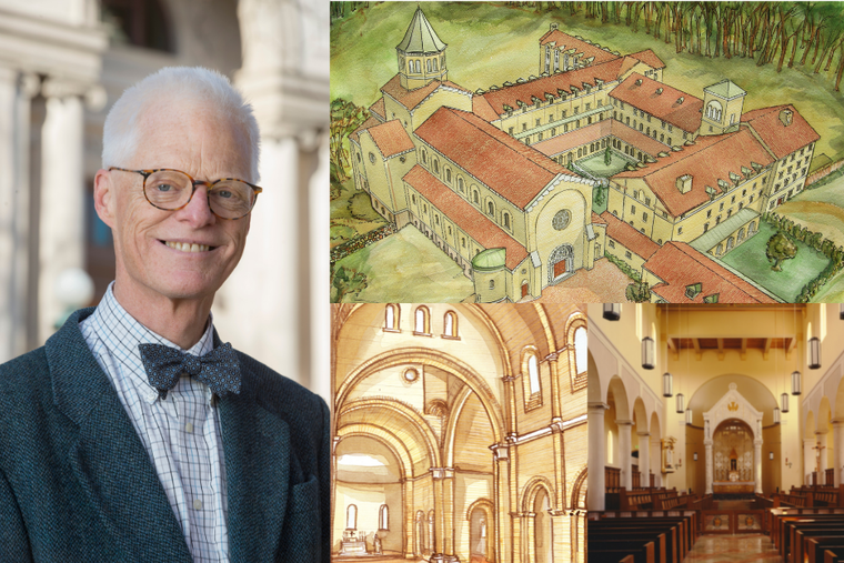 (L) Architect Thomas Gordon Smith alongside his work including (T) watercolor perspective of Our Lady of the Annunciation Abbey at Clear Creek in Hulbert, Oklahoma, (B-L) interior watercolor perspective of the crossing in the chapel at Our Lady of the Annunciation Abbey at Clear Creek in Oklahoma, (B-R) interior of the Chapel of Saints Peter & Paul at Our Lady of Guadalupe Seminary in Denton, Nebraska.