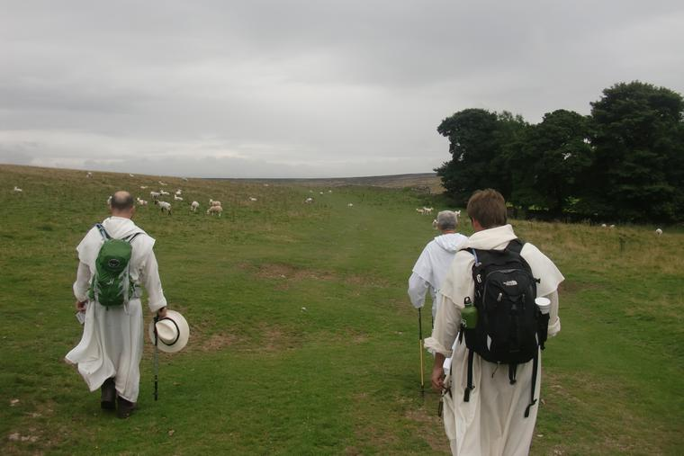 Coinciding with the Dominican arrival in England, friars are on a walking pilgrimage.