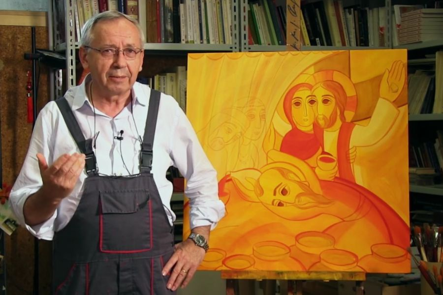 Jesuit Father Marko Ivan Rupnik is shown with his artwork, the official image of the 10th World Meeting of Families in Rome.