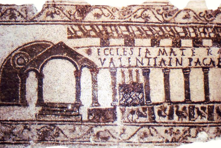 """""""Mother Church"""" is architecturally represented in a mosaic of a 5th-century chapel floor"""