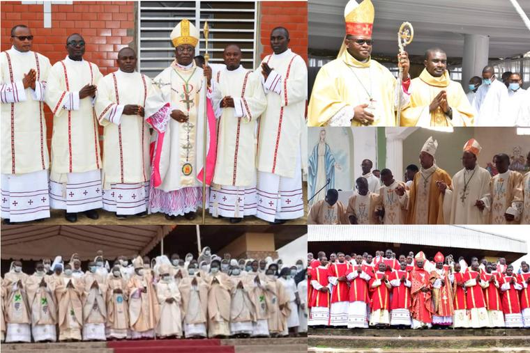Priestly ordinations in Cameroon including  Fr. Franklin Njua alongside his bishop.