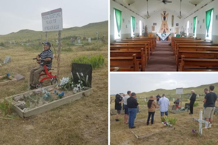 Clockwise from left: George Looks Twice, who is responsible for initiating the canonization process for Black Elk, sits by his grandfather's grave. St. Agnes Catholic Church is in Manderson, South Dakota, on the Pine Ridge Reservation, where Nicholas Black Elk ministered. Knights of Columbus, along with other Lakota Catholics and descendants of Black Elk, gather for prayer around Black Elk's grave as part of their pilgrimage this month.