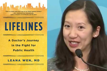 Leana Wen with the cover of her book, 'Lifelines: A Doctor's Journey in the Fight for Public Health'