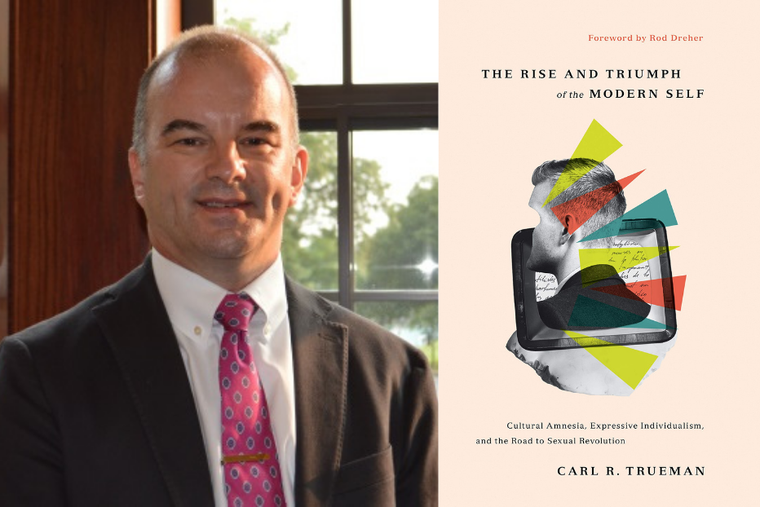 Professor Carl Trueman of Grove City College is shown alongside his most recent book, 'The Rise and Triumph of the Modern Self.'