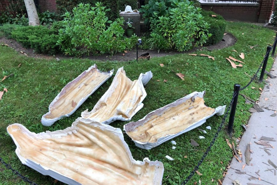 Remains of the statues vandalized at Our Lady of Mercy parish in New York City, July 17, 2021.