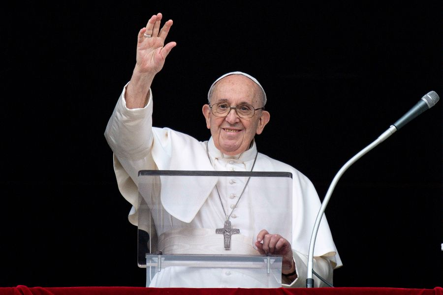 Pope Francis waves during his Angelus address at the Vatican July 25, 2021.