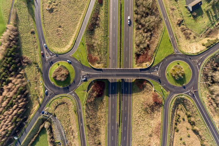 Aerial birds eye view of the M7 motorway in Ireland.
