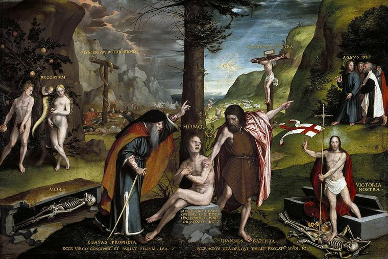 """Hans Holbein the Younger, """"An Allegory of the Old and New Testaments,"""" 1530"""