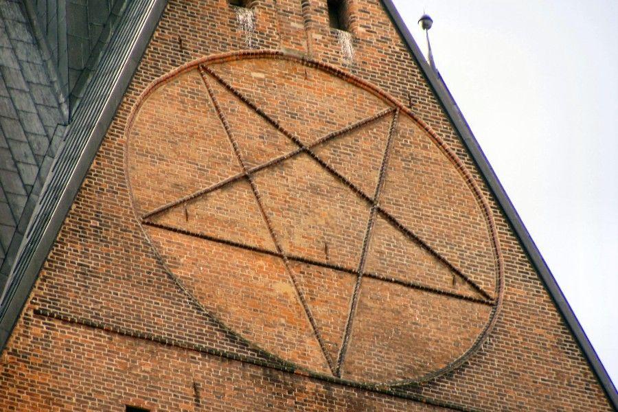 Pentagram on the Tower of Marktkirche, Hannover, Germany