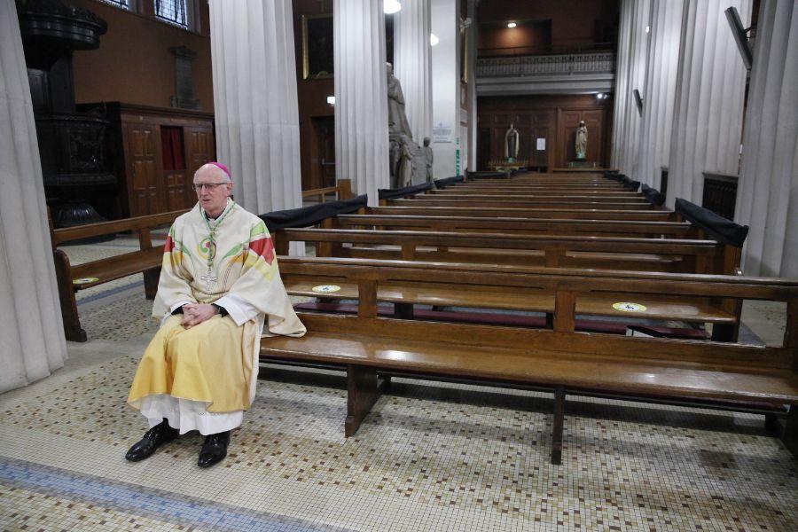 Archbishop Dermot Farrell prays in St. Mary's Pro-Cathedral, Dublin, Ireland, on Feb. 2, 2021.