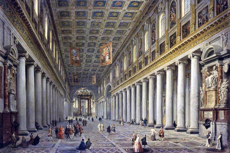 """Giovanni Paolo Panini, """"Interior of S. Maria Maggiore in Rome,"""" ca. 1754"""