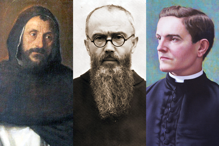 """L to R: Titian's """"Saint Dominic,"""" St. Maximilian Kolbe in 1936 and Blessed Michael McGivney"""