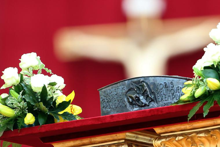 For the first time in nearly 2,000 years, relics of St. Peter are displayed for the veneration of the faithful on the Solemnity of Christ the King in St. Peter's Basilica on Nov. 24, 2013. Franco Origlia