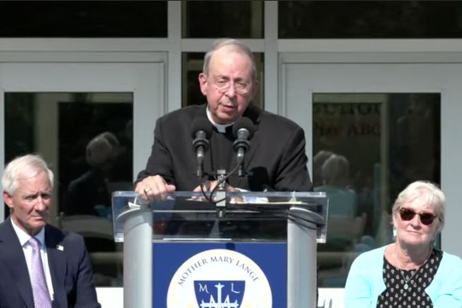 Archbishop William Lori of Baltimore speaks at the grand opening and blessing ceremony of Mother Mary Lange Catholic School in Baltimore on Aug. 6.