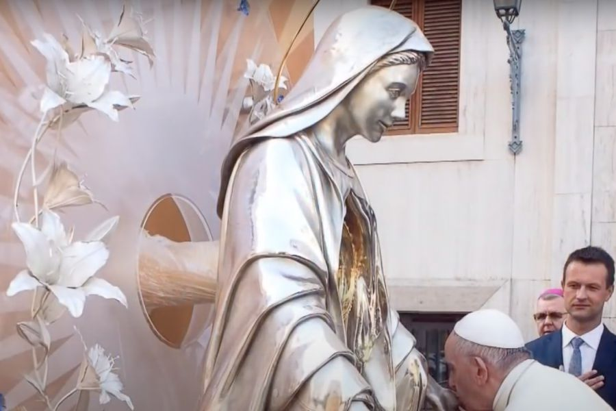 """One of the 12 altars for perpetual adoration that represent the """"crown of 12 stars"""" on the Virgin Mary's head blessed by Pope Francis."""