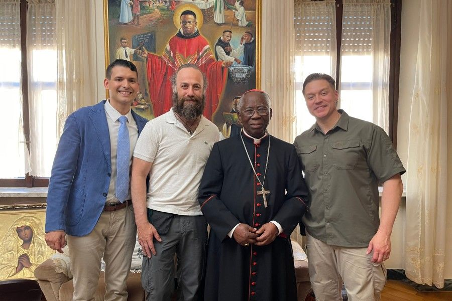 Angelo Libutti and Ray Grijalba meet and interview Nigerian Cardinal Francis Arinze for the movie