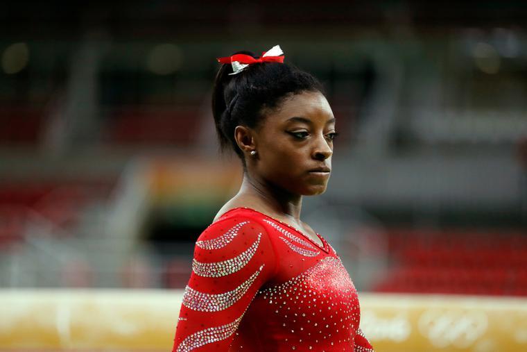 Simone Biles at the Rio 2016 Summer Olympic Games artistic gymnastics.