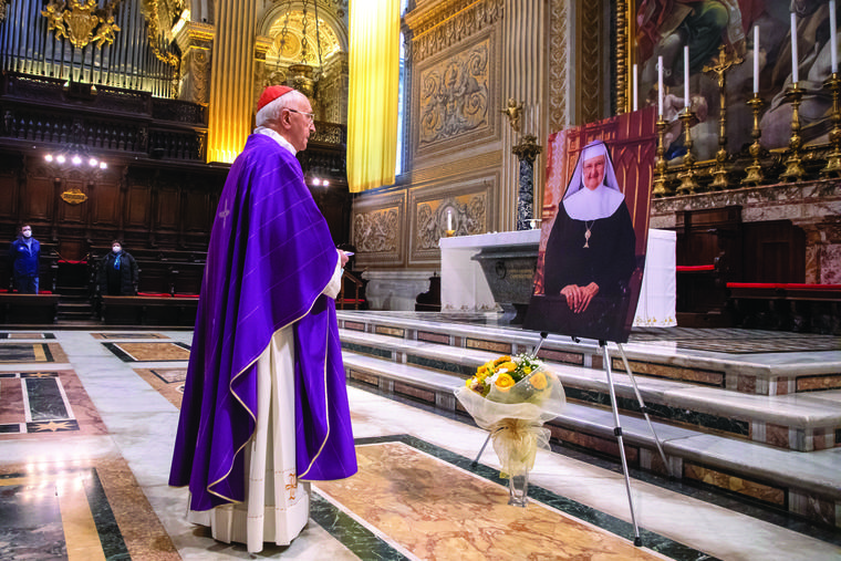 Cardinal Fernando Filoni, the grand master of the Equestrian Order of the Holy Sepulchre, celebrates a memorial Mass for EWTN foundress Mother Angelica on the fifth anniversary of her passing March 27 in St. Peter's Basilica