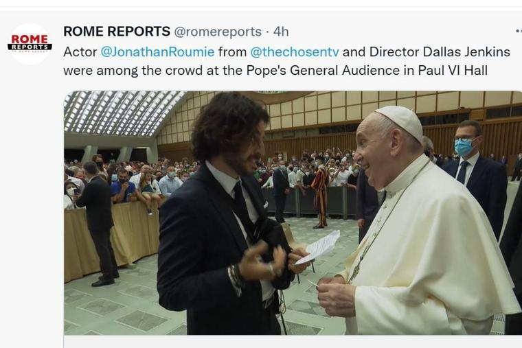 Actor Jonathan Roumie meets Pope Francis following his general audience on Aug. 11.