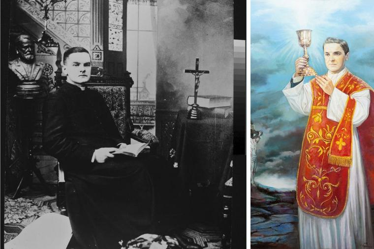 L to R: Father Michael McGivney is shown seated in a studio rectory setting, dressed in a long cassock; photo attributed to John J. Tierney. Digitized from black and white copyprint; 1870-1879 approximately. A painting, entitled, 'Father McGivney with Scene of the Crucifixion,' oil on canvas, 2012, by Antonella Cappuccio, was commissioned by the Knights of Columbus Supreme Council to further the evangelization efforts of the Catholic Church through the image of then-Venerable Michael J. McGivney.