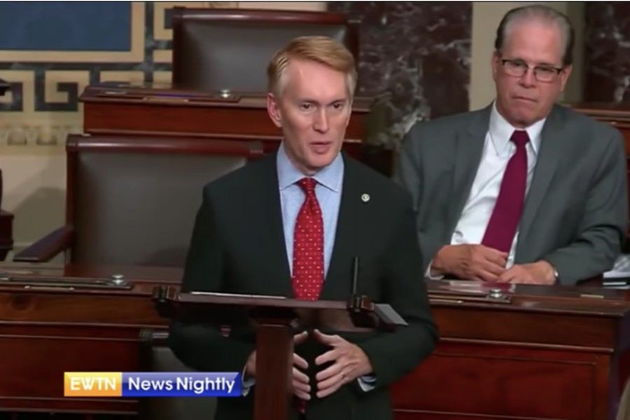 Sen. James Lankford, R-Okla., speaks on the Senate floor in favor of his pro-life amendment.