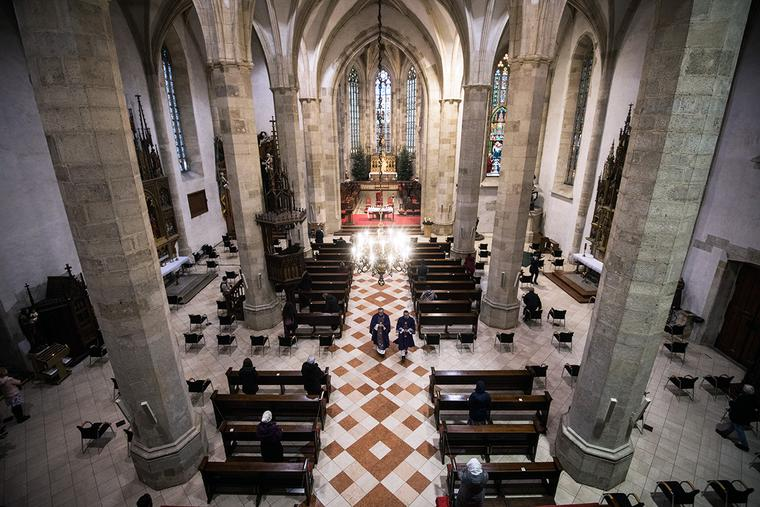 Worshippers gather for a Mass on Dec. 23, 2020, in St. Martin's Cathedral in Bratislava, Slovakia.