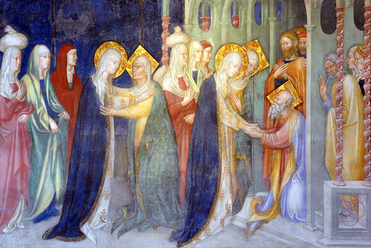 "Lorenzo and Jacopo Salimbeni, ""The Visitation,"" 1416. Oratio of St. John the Baptist, Urbino, Italy."