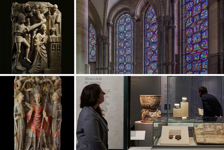Clockwise from top left: An alabaster panel shows the murder of Thomas Becket; the Miracle Windows, an overview of the exhibit and an alabaster panel from an altarpiece showing Becket's consecration as an archbishop (from the first half of the 15th century; private collection) are on display.