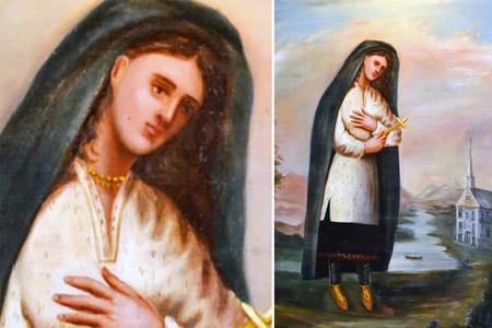 This is a portrait of St. Kateri Tekakwitha painted by Jesuit Father Claude Chauctiere, who knew her personally. He depicts St. Kateri as she would have looked in life: in Mohawk dress typical for late 17th century, along with her unique choice of a blue shawl worn over her head.