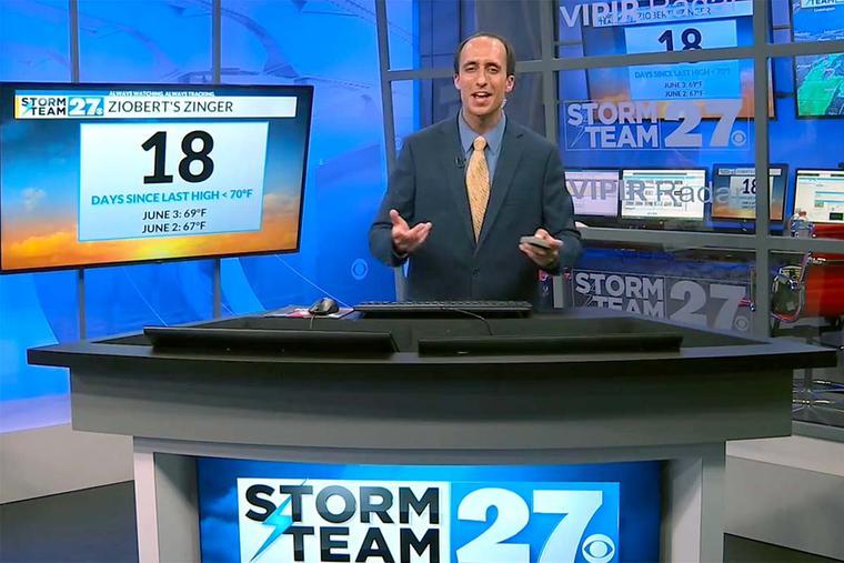 Craig Ziobert on the set of WKBN in Youngstown, Ohio.