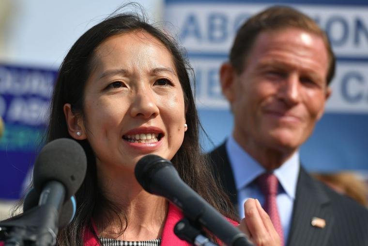 """Leana Wen, former president of Planned Parenthood, speaks during a press conference on the reintroduction of the """"Women's Health Protection Act at the House Triangle of the US Capitol in Washington, DC, on May 23, 2019."""