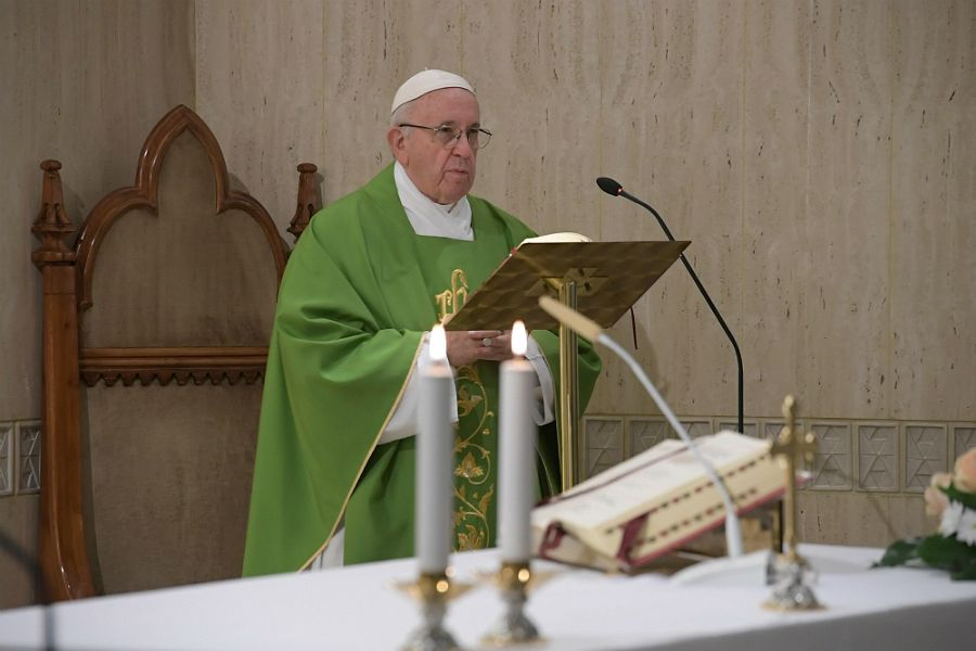 Pope Francis says Mass at the chapel of Santa Marta in the Vatican, Sept. 11, 2018.