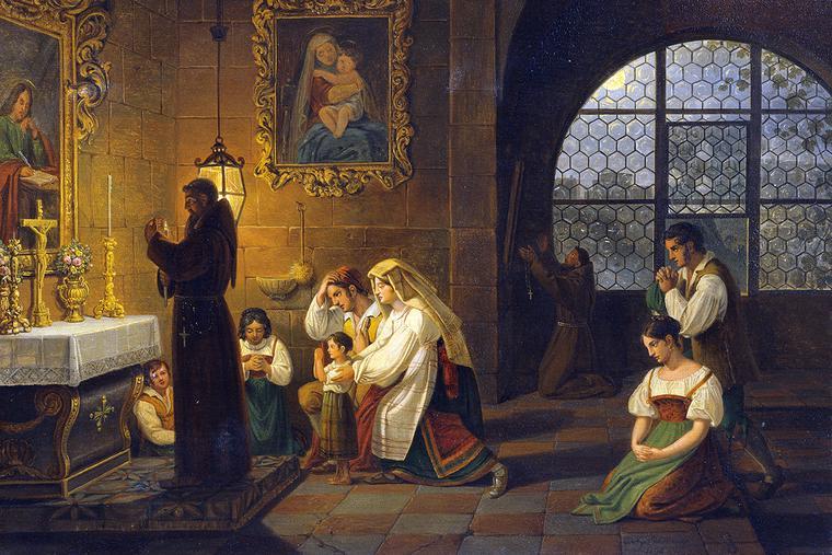 """Johann Nepomuk Schödlberger, """"Inside a Church in Italy,"""" 1830"""