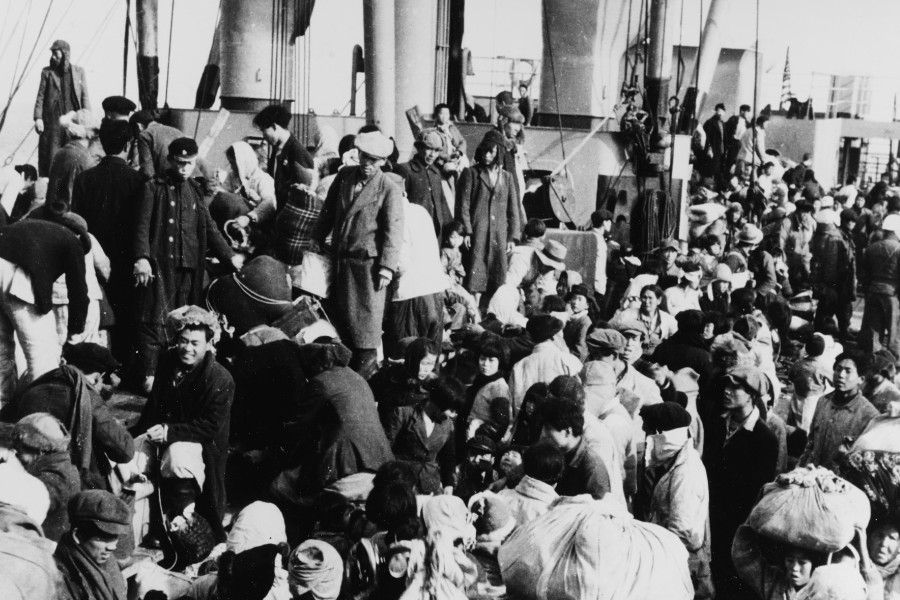 Refugees are shown during the Hungnam evacuation, c. December 1950.